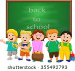 a small group of kids school... | Shutterstock .eps vector #355492793