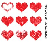 hand drawn heart shapes  icons... | Shutterstock .eps vector #355525583