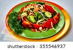 fresh salad with tomatoes and... | Shutterstock . vector #355546937