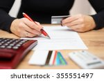 woman is opening bank account... | Shutterstock . vector #355551497