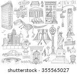 hand drawn sketch new york... | Shutterstock .eps vector #355565027