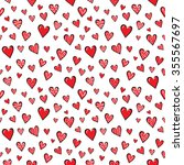 seamless red  hearts pattern on ... | Shutterstock .eps vector #355567697