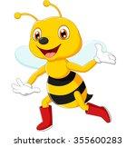 cute bee cartoon waving | Shutterstock .eps vector #355600283