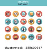 e learning icon set with long...