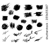 Pencil sketches. Hand drawn scribble shapes. A set of doodle line drawings. Vector design elements