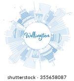 outline wellington skyline with ... | Shutterstock .eps vector #355658087