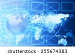 world map on a technological...   Shutterstock . vector #355674383