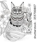 Adorable Fox Coloring Page Wit...