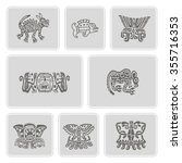 set of monochrome icons with... | Shutterstock .eps vector #355716353