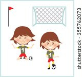 cartoon soccer kid. vector clip ... | Shutterstock .eps vector #355762073