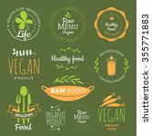 logos with vegetarian and... | Shutterstock .eps vector #355771883