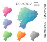 set of vector polygonal ecuador ...   Shutterstock .eps vector #355794293