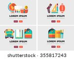 vector set of school logos in... | Shutterstock .eps vector #355817243