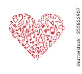 red heart made of musical signs ...   Shutterstock .eps vector #355822907