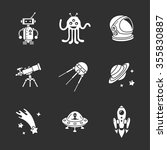 nine stylish space icons | Shutterstock .eps vector #355830887