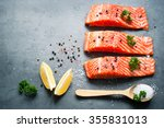 Raw Fillet Of Salmon With Sea...