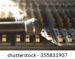 close up of microphones put on... | Shutterstock . vector #355831907