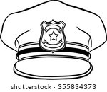 policeman hat isolated... | Shutterstock .eps vector #355834373
