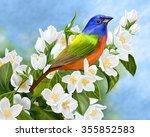 Large Bright Bird On A...