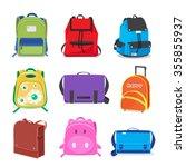 set  of kids school bags... | Shutterstock .eps vector #355855937
