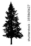 Pine Tree Silhouette Isolated...