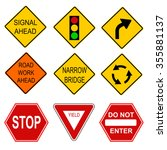 set of road signs.  | Shutterstock .eps vector #355881137