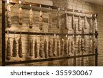 sausage shop a lot of sausage... | Shutterstock . vector #355930067