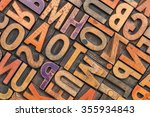 wood type alphabet abstract... | Shutterstock . vector #355934843