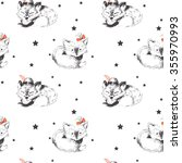 seamless pattern  two foxes... | Shutterstock .eps vector #355970993