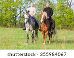 couple enjoy riding horses in... | Shutterstock . vector #355984067