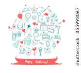happy birthday greeting card... | Shutterstock .eps vector #355993067
