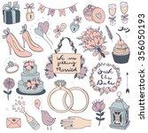 hand drawn vector wedding set  | Shutterstock .eps vector #356050193
