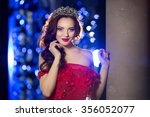 woman in lux dress crown  queen ... | Shutterstock . vector #356052077