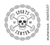gym logo in vintage style.... | Shutterstock . vector #356053157