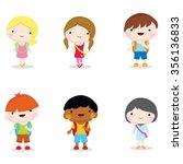 happy children carrying bags to ... | Shutterstock .eps vector #356136833