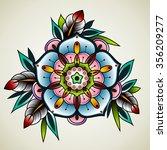 old school tattoo art flowers... | Shutterstock .eps vector #356209277