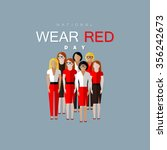 national wear red day. vector... | Shutterstock .eps vector #356242673