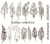 rustic decorative feathers ... | Shutterstock .eps vector #356340437