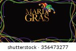 colored beads frame mardi gras... | Shutterstock .eps vector #356473277