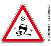 slippery road   vector sign | Shutterstock .eps vector #356488097
