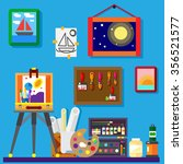 artist workshop art gallery... | Shutterstock .eps vector #356521577