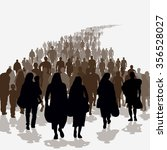 silhouettes of refugees people... | Shutterstock .eps vector #356528027