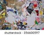 colorful torn posters on grunge ... | Shutterstock . vector #356600597