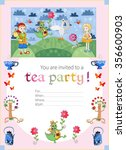 childish tea party invitation... | Shutterstock .eps vector #356600903