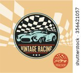vintage racing car label  retro ... | Shutterstock .eps vector #356621057