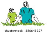 father and son illustration 3 | Shutterstock .eps vector #356645327