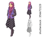 muslim woman fashion wearing... | Shutterstock .eps vector #356672123