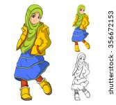 muslim girl fashion wearing... | Shutterstock .eps vector #356672153