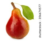 Ripe Pear With Leaf Close Up...