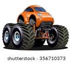 vector cartoon monster truck... | Shutterstock .eps vector #356710373